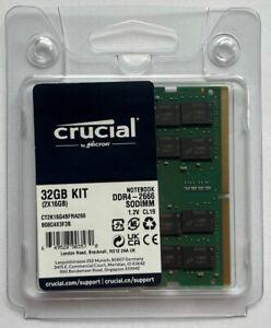 Crucial 32GB (2 x 16GB) PC4-21300 (DDR4-2666) SODIMM Memory (CT2K16G4SFRA266) 1