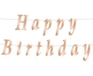 Happy Birthday Banner Rose Gold 200 cm