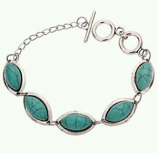 Inlay Oval Shaped Toggle Bracelet New Women'S/Girl'S Tibetan Silver Turquoise