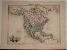 NORTH AMERICA 1878 J. MIGEON ANTIQUE ORIGINAL COLORED LITHOGRAPHIC MAP