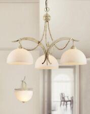 Lampadario classico 3 luci avorio striato e vetri bianco satinato Dese 1720/3B