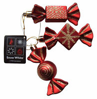 Christmas Tree Baubles Red & Gold Sparkly Sweet Candy Ornaments,Set3 Decorations