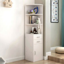 3 Shelves Corner Stand Cupboard Display Cabinet Storage Unit Bookcase 2 Drawers
