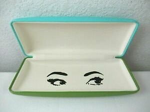 Brand New Kate Spade Aqua & Olive Green Eyeglasses Hard Case w/ Cleaning Cloth