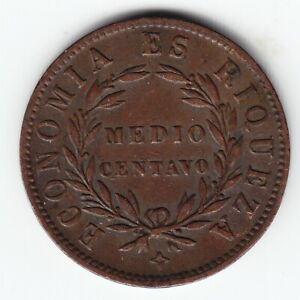CHILE 1/2 centavo 1853 KM126 Copper 1-year type HIGH GRADE - RARE THIS NICE !