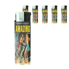 Vintage Alien Abduction D13 Lighters Set of 5 Electronic Refillable Butane