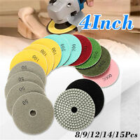 Diamond Polishing Pads 4 inch Wet/Dry 15 Piece Set Granite Stone Concrete Marble