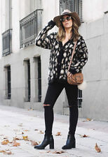 ZARA LEOPARD PRINTED OVERSIZED KNIT FURRY JACKET COAT CARDIGAN SIZE M ONE SIZE