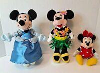 "Lot of 3 Disney Minnie Mouse Plush Beanies: 8"" Hula 8""Cinderella 7"" Red Poka Dot"