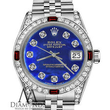 Women's Rolex 31mm Datejust Blue Color Treated MOP Dial Ruby & Diamond Bezel