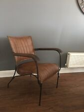Genuine Leather Walnut Brown Chair Industrial Retro Vintage Style Chair Seat