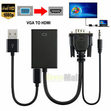 VGA Male To HDMI Output 1080P HD+ Audio TV AV HDTV Video Cable Converter Ad