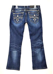 ROCK REVIVAL Women's Gwen Boot Distressed Stretch Rocker Denim Jeans Size 28X28