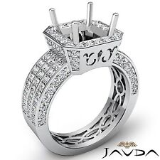 Princess Cut 3 Row Diamond Engagement Semi Mount Halo Ring 14k White Gold 1.45Ct