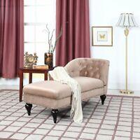 Modern Velvet Chaise Victorian Home Decor Living Room Bedroom Champagne Chaise