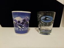SeaWorld shot glass x2 1 ceramic with 3d killer whale