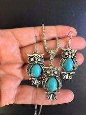 Necklace Earring Owl Turquoise Silver Vintage Style Boho Ethnic Retro R1005