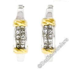 14K White Gold 0.75ctw Princess Cut Invisible Set Diamond Huggie Hoop Earrings