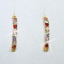1 Carat  Multi Gemstone Inside Out Hoop Earrings 14k Yellow Gold Over 925 SS