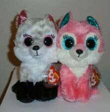 """Ty Beanie Boos Set~ ELLIE & MAGGIE the Wolf 6"""" (Great Wolf Lodge Exclusives) NEW"""
