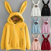 Women Rabbit Bunny Ear Hoodies Hooded Sweatshirt Pullover Jumper Casual Tops