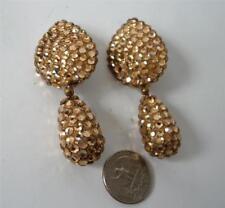 Vintage Gold Crystal Encrusted Dangle Drop Earrings Teardrop Signed Champagne