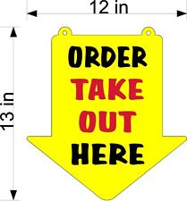 ORDER TAKE OUT HERE SIGN  YELLOW PLEXI GLASS ARROW RESTAURANT
