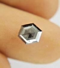 Natural Loose Diamond Black Hexagon Rose cut 0.56TCW I1 5.8 x 5.0 x 2.7 MM