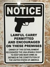 MAN CAVE Guns Welcome Lawful Carry Metal Sign Gun Club WARNING 2nd Amendment