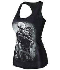 Vest Death Lover Punk Women's Tank Top Bodycon T-Shirt Skull Printed Sleeveless
