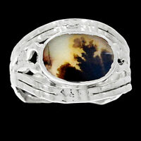 Famous Shazar Stone,Dendritic Agate 925 Silver Ring Jewelry s.8 RR200828