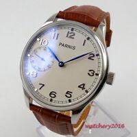 44mm PARNIS Weiß dial 17 jewels 6497 Handaufzug Mechanisch Uhr men's Wristwatch
