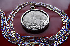 """BIG AFRICAN LION LEO COIN Pendant, 28"""" 925 Silver Chain. Over 1 Inch diameter!"""