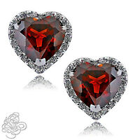 1.89 CT HALO HEART GARNET STUD EARRINGS 14K W GOLD PLATED OVER SILVER SAPPHIRE