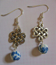 A Pair  Chinese *ENDLESS KNOT Sacred Buddhist Symbol * Tibetan Silver Earrings,