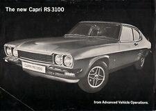 Ford Capri RS 3100 Mk1 1973-74 UK Market Leaflet Sales Brochure