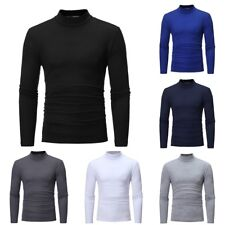 MENS ROLL NECK LONG SLEEVE COTTON TOP POLO NECK TURTLE NECK JUMPER T SHIRT