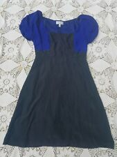 Anthropologie black blue textured floral gothic classy 40's 50's style dress 6 M