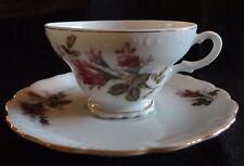 Vintage Tea Cup and Saucer Pink Roses/Rosebuds Gold Trim Japan