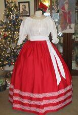 CIVIL WAR DRESS~VICTORIAN CHRISTMAS BRILLIANT RED COTTON SKIRT & SASH PLUS SIZE