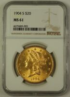 1904-S Liberty Head Double Eagle $20 Gold Coin NGC MS-61 (Better)