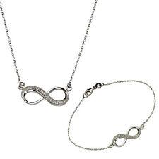 ZEEme Silver Collier Armband 925 Sterling Silber Zirkonia weiß Infinity Damen