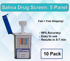 5 Panel Instant At Home Saliva Drug Test Mouth Swab (10 Pack) - Free Shipping!