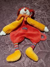 Doudou Plat Moulin Roty 38cm Dragobert Lutin Rouge Orange Clown Arlequin Cirque
