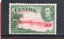 Ceylon GV1,1938-49 30c carmine & green sg 393 HH.Mint