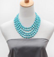 Stunning Five-strand Turquoise Gemstone Beaded Necklace