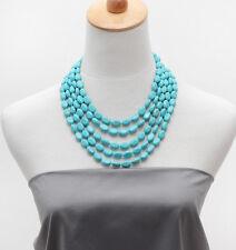 Filamento de piedras preciosas de color turquesa impresionante de cinco collar con cuentas