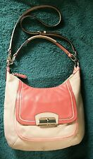 Coach Coral/Pink/Sand Leather Kristin Spectator Hobo Satchel Shoulder Bag 22509
