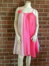 Vintage FLAIR Nylon Tent Baby Doll Nightgown ILGWU Variation Stripe Pinks Small!