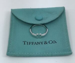 Tiffany & Co 18k White Gold T Wire Ring With Tiffany Ring Pouch